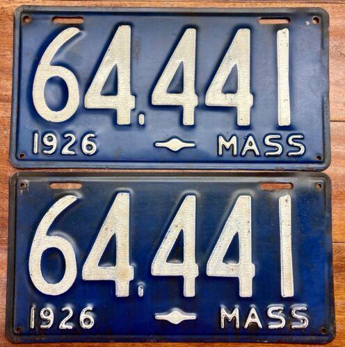 EXCEPTIONALLY NICE LOOKING PAIR ORIGINAL1926 MASSACHUSETTS LICENSE PLATES, 64441