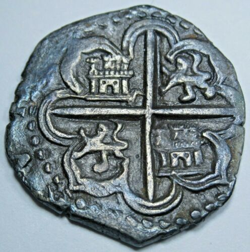 1500s Philip II Spanish Seville Silver 1 Reales Antique Colonial Pirate Cob Coin