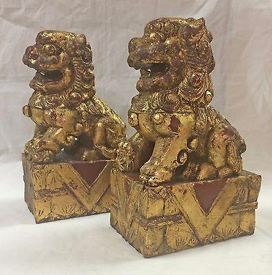 Set of 2 Vintage Chinese Foo Dog Wood Carved Guardian Fu Lion Red w/ Gold Leaf