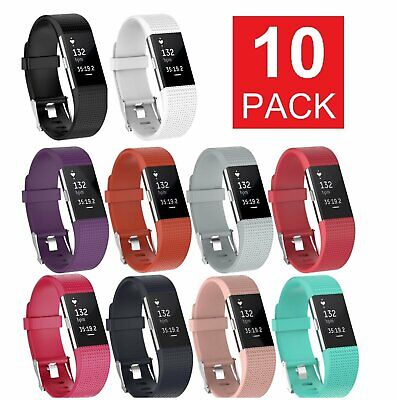 10-PACK Fitbit Charge 2 Wristband Silicone Bracelet Strap Band Jewelry & Watches