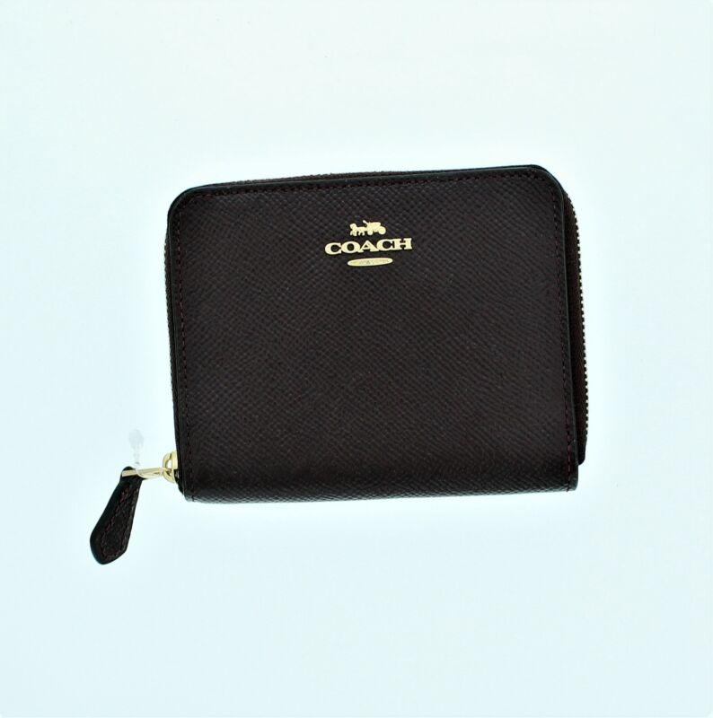 Coach New York Patent Leather Small Zip Around Wallet Li/Oxblood