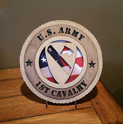 U. S. Army 1st Cavalry Wall Tribute with Flag Background