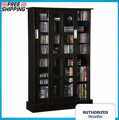 Book Shelf Bookcase Sliding Door Storage Media Glass Wood Organizer Unit Brown Glass Traditional Bookcase
