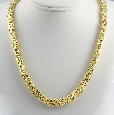 "240 gm 14k Yellow Solid Gold Men's Women's Byzantine Chain Necklace 28"" 7mm"