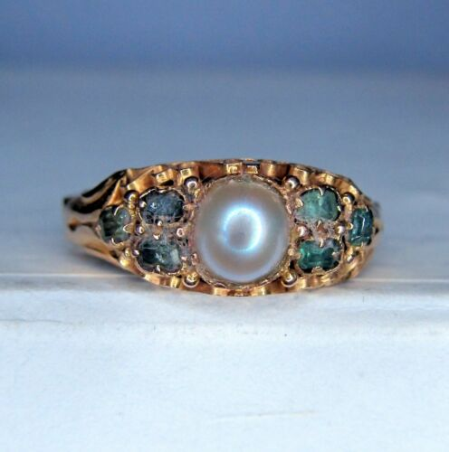 15ct GOLD EMERALD & PEARL RING  Birm 1917 - Size K 1/2 - VINTAGE  .......... A25