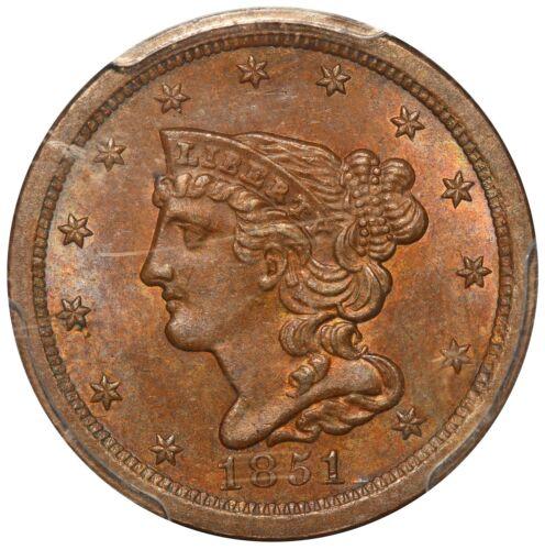 1851 U.S. Braided Hair 1/2 Half Cent Coin - PCGS MS 64 BN CAC