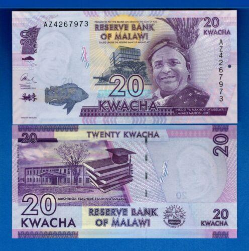 Malawi P-63c 20 Kwacha Year 2016 Uncirculated Banknotes Africa