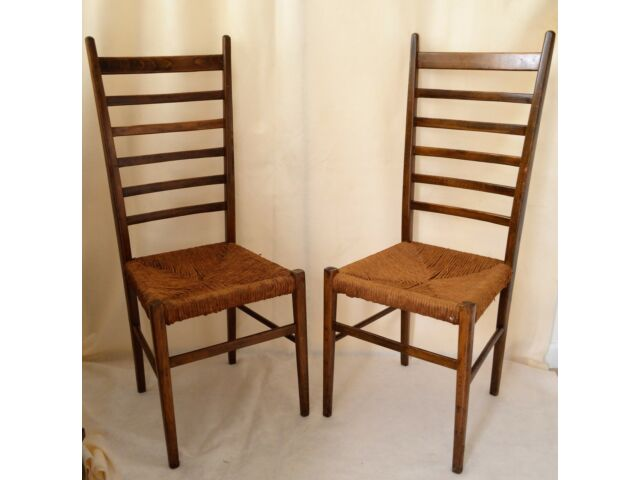 Vintage Pair of Italian Ladder Back Chairs with Woven Rush Seats Marked