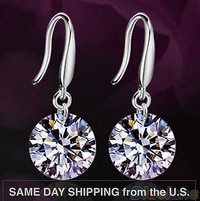 Womens 925 Sterling Silver AAA CZ Crystal Drop Dangle Charm Earrings ()