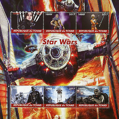 Chad 2017 CTO Star Wars Darth Vader 6v M/S Movies Film Stamps