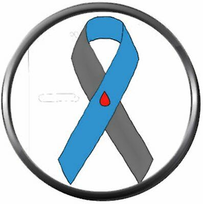 Diabetes Awareness Ribbon With Blood Drop Find A Cure 18MM - 20MM Snap Jewelry C - Diabetes Awareness Ribbon