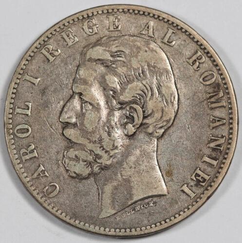 Romania 1885 B 5 Lei 25 Gram Silver Coin Fine/VF KM #17.1 Carol I Better Date