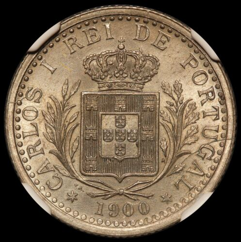 1900 Portugal 100 Reis Coin - NGC MS 64 - KM# 546