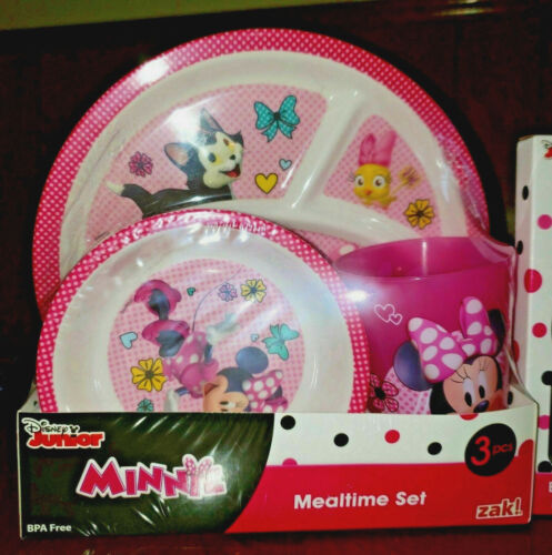 Disney Junior MINNIE MOUSE 3-piece Mealtime Set ~ Sectioned Plate Bowl Cup NEW!