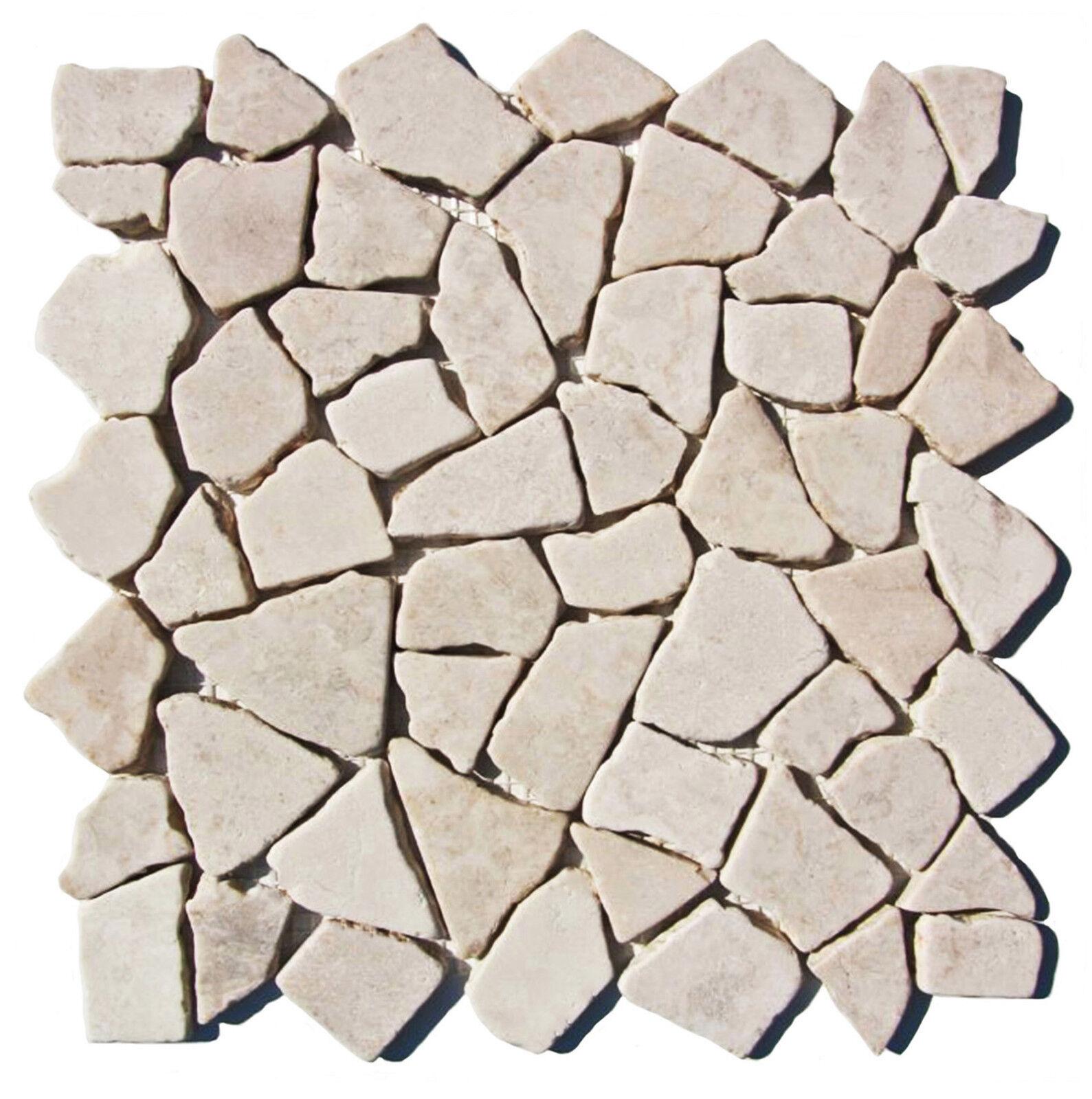 1 Matte M-003 Fliesen Bruch-Mosaik Marmor Naturstein Wand Boden Restposten Neu