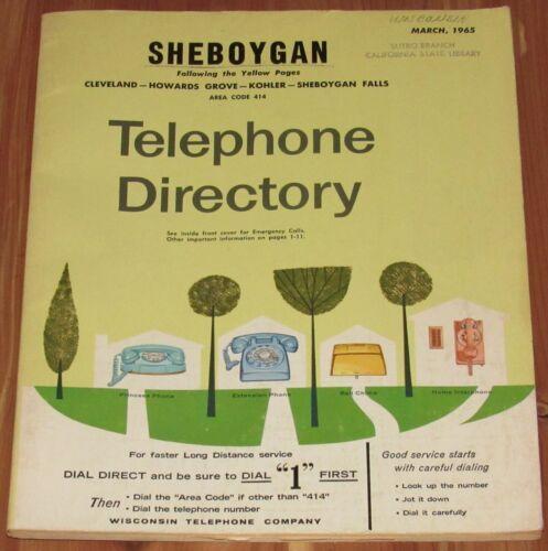 1965 WISCONSIN TELEPHONE DIRECTORY, SHEBOYGAN, CLEVELAND, HOWARDS GROVE