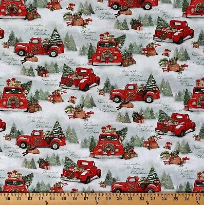 Cotton Red Trucks Home For Christmas Tree Farm Fabric Print by the Yard D400.32 ()