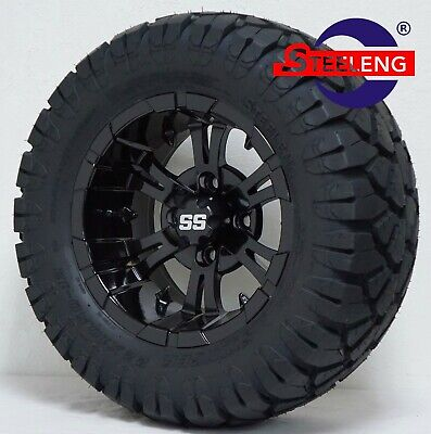"GOLF CART 12"" BLACK VAMPIRE WHEELS and 22"" STINGER DOT ALL TERRAIN TIRES"