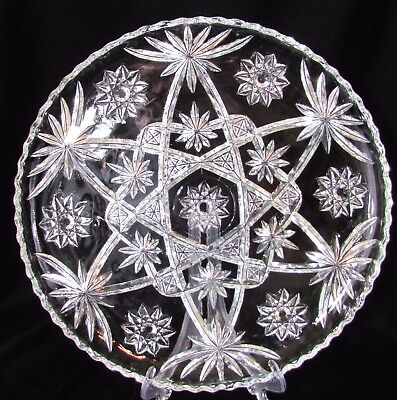 (Vtg Anchor Hocking EAPC Star of David 13 in Round Cake Platter Clear Press Glass)