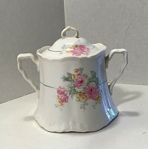 Antique IMPERIAL CHINA Porcelain Sugar Bowl Hand Painted Roses With MARK