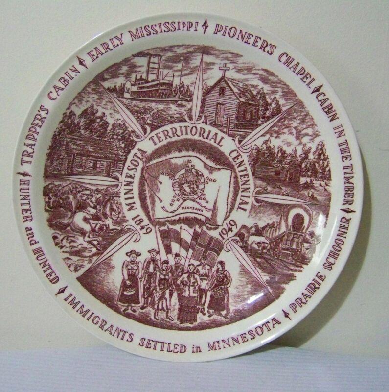 Minnesota Territorial Centennial Souvenir Plate Vintage Vernon Kilns 1949