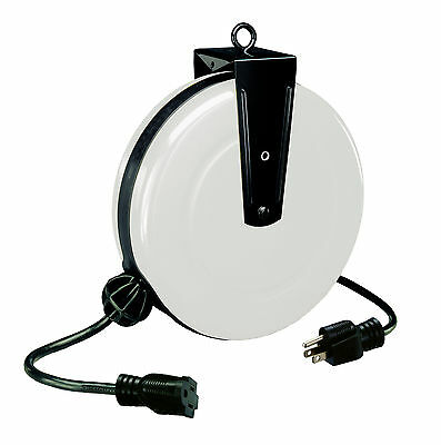 30 FT Retractable Steel Extension Cord Reel 1 Outlet Alert 5000A-30GF-S