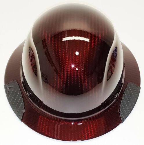 Custom Translucent Red Carbon Fiber Lift DAX Carbon Fiber Full Brim HardHat