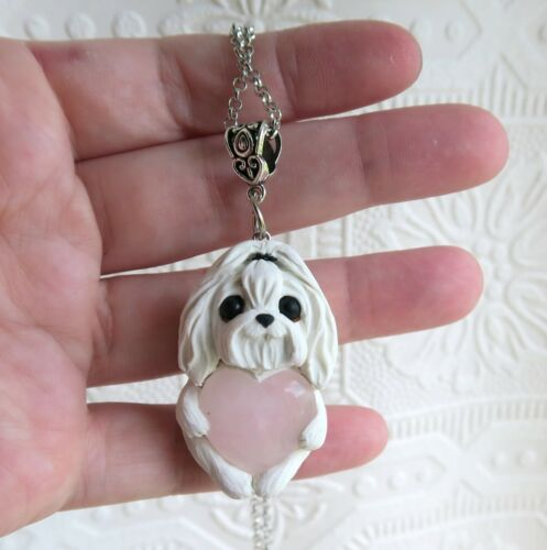 Maltese Love & Healing Heart Stone pendant necklace sculpted Furever Clay