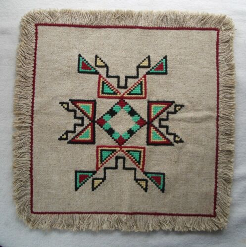 """Vintage Native American Needlepoint Double-sided Panel Rosebud Sioux 15"""" x 15"""""""