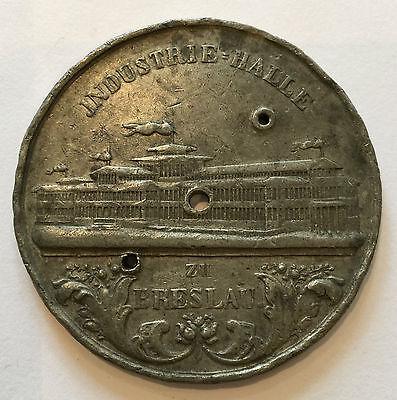 große Zinn-Medaille Industrie Ausstellung Schlesien 1857 Breslau Belegstück