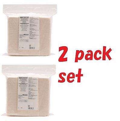 [ 2 p ] Muji Organic Facial Cut Cotton 180 pads unbleached best for vape wick