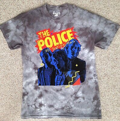 SeeSize* new vtg-look 80s retro style THE POLICE T-SHIRT Tie Dye Gray Music Band (The 80's Look)