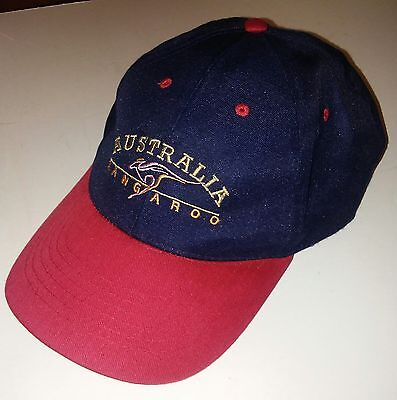 Australia Kangaroo Logo Red   Black Baseball Cap Hat Hook   Loop Adjustable
