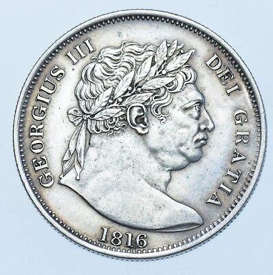 1816 HALFCROWN BRITISH SILVER COIN FROM GEORGE III EF