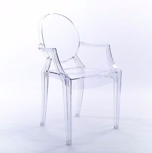 Clear Ghost Dining Arm Chair Transparent Modern Style Chic Starck Louis X