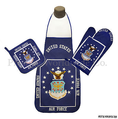 U.S. Air Force Emblem BBQ & Kitchen Set w/ Apron Oven Mitt Pot Holder USAF *NEW* ()