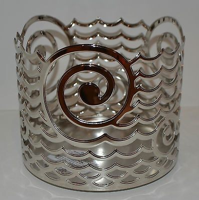 NEW BATH & BODY WORKS CHROME OCEAN WAVE METAL LARGE 3 WICK CANDLE HOLDER 14.5 OZ