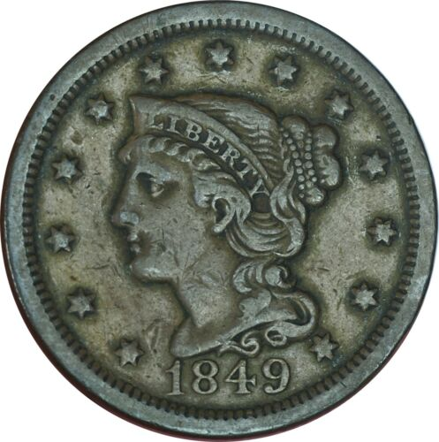 1849 Braided Hair Large Cent XF Condition