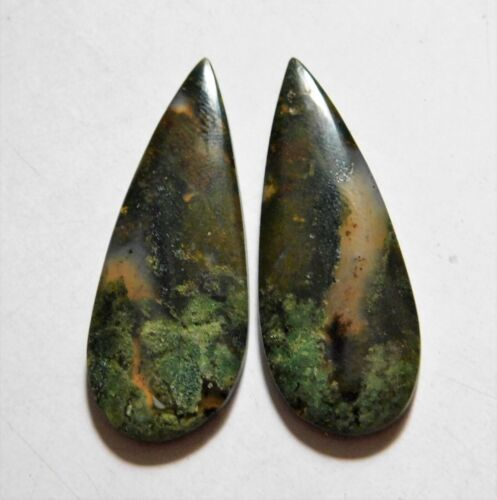 34.45 Cts Natural Blood Stone (39.5mm X 15.5mm each) Loose Cabochon Match Pair