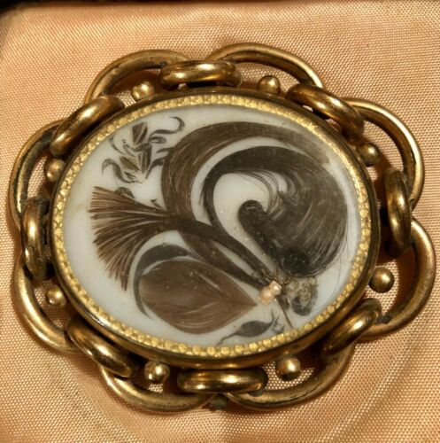 LOVELY LARGE ANTIQUE SWIVEL MOURNING HAIR PRINCE OF WALES BROOCH