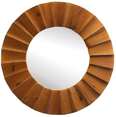 "RICH OVERLAPPING WOOD RUSTIC BEAM SUNBURST WALL MIRROR  *18""x18"" * NIB"