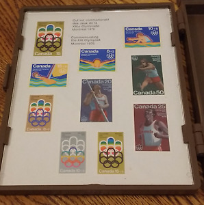 Collectible Olympics Stamps Complete Set w/ Case- incl 12 Stamps