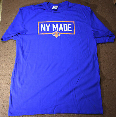New York Made New York Knicks Mens Adult Large Blue T-shirt NBA Basketball
