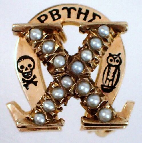 FINE Vtg 1947 Chi Omega Sorority 2.5g SOLID 10k Yellow Gold Seed Pearl Greek Pin