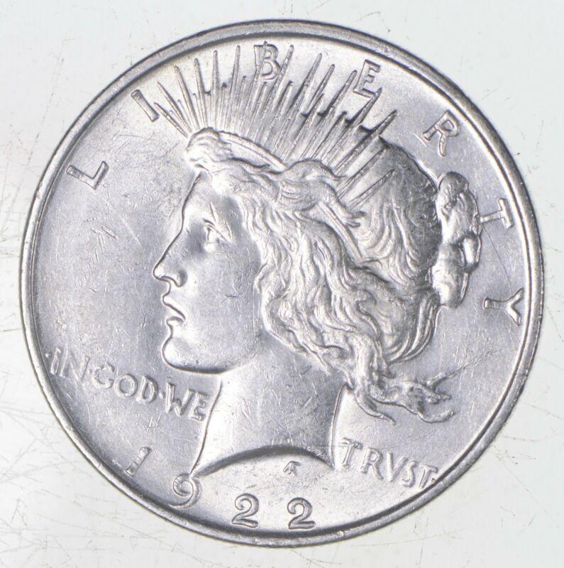 Choice AU/UNC 1922-D Peace Silver Dollar - 90% Silver *789