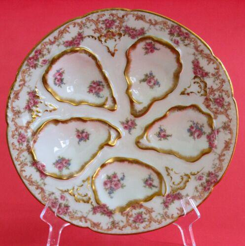 HAVILAND LIMOGES GDA Oyster Plate Pink Roses Gold Rose Border~Stunning!