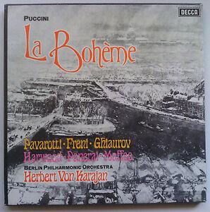 PAVAROTTI-FRENI-KARAJAN-PUCCINI-La-Boheme-Decca-Box-SET-2LP-565-6-EX-VG-TAS