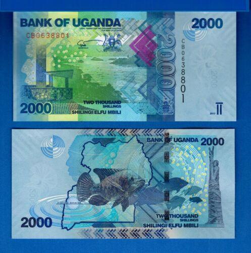 Uganda P-50d 2000 Shillings Year 2017 Uncirculated Banknote Africa