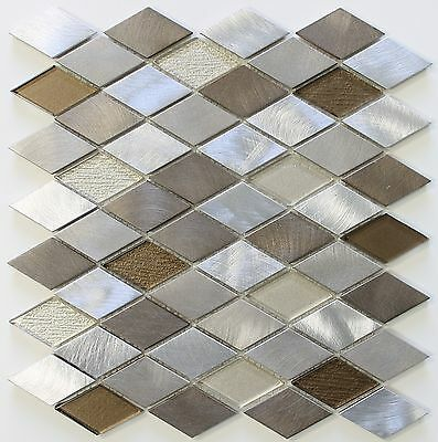 (Yaletown Diamond Brushed Aluminum and Glass Mosaic Tile -Kitchen Backsplash Tile)