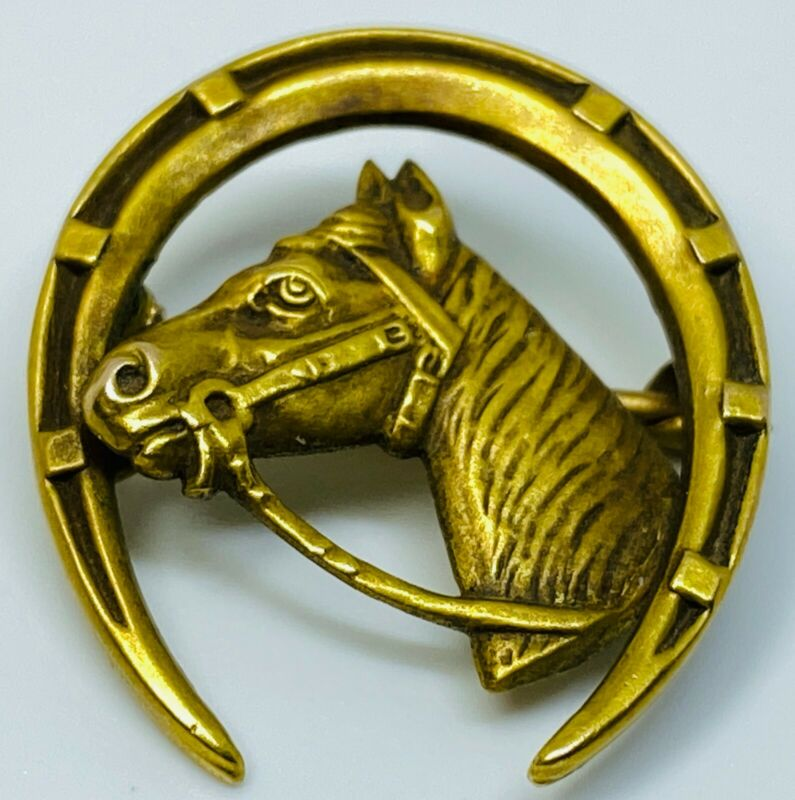 Edwardian Cast Horse Head w/ Horseshoe Equestrian 14K Gold Pin